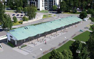 Havainnekuva: Ostoskeskus ja terassi
